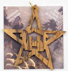 Christmas Star Manger Scene Olive Wood Ornament