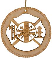 Firefighter Laser Cut Wood Ornament