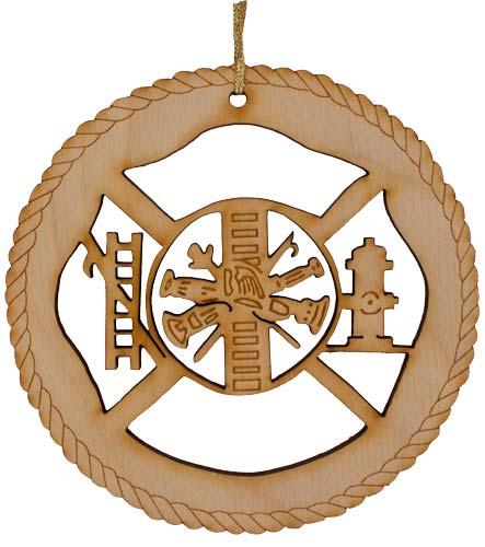 Firefighter Laser Cut Wood Ornament