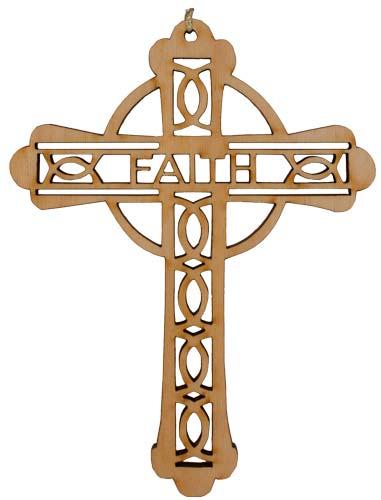 'Faith Cross' Laser Cut Wood Ornament