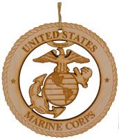 Marine Corps Laser Cut Wood Ornament