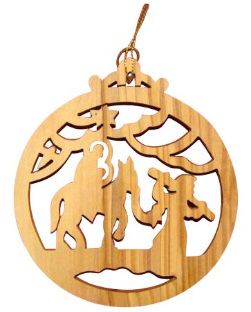 Christmas Journey to Bethlehem Olive Wood Ornament Laser Cut