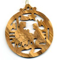 Manger Natitivy Christmas Olive Wood Ornament