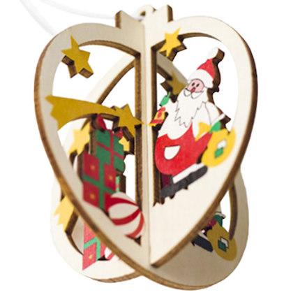 Santa Wood Tree Ornaments