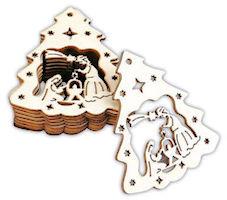 Tree Manger Christmas Wood Ornaments (Pkg of 10)