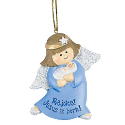 Religious Christmas Gifts.Christmas Angel Ornament Rejoice Jesus