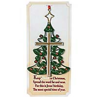 christmas tree cross ornament on a card - Christian Christmas Decorations