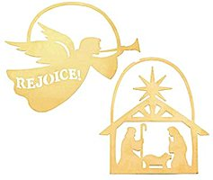 Angel & Nativity Brass Ornament Set