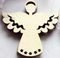 Angel Wood Ornaments Unfinished, Pack of 10