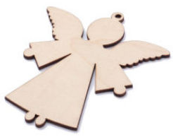 Angel Wood Ornaments with Hole, Unfinished (Pkg of 6)