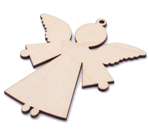 Angel Wood Ornaments with Hole, Unfinished (Pkg of 10)