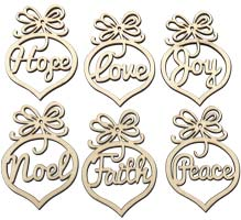6 Christmas  Wooden Tree Ornaments  Faith Hope