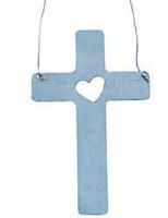 Cross  w/ Heart Christmas Tree Ornament