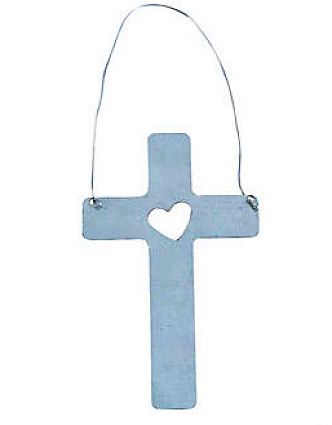 Cross  w/ Heart Christmas Tree Ornament