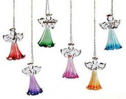 Glass Angel Christmas Ornaments (Box of 12)