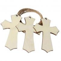 Unfinished Rustic Cross Wood Pack of 24