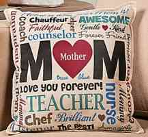 MOM Cotton Throw Pillow