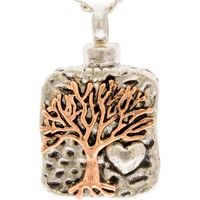 2 Tone Tree of Life Cremation Urn Necklace