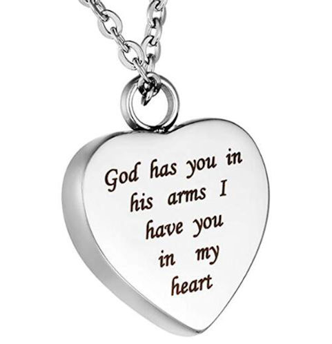 Memorial Urn Necklace God Has you in His Arms