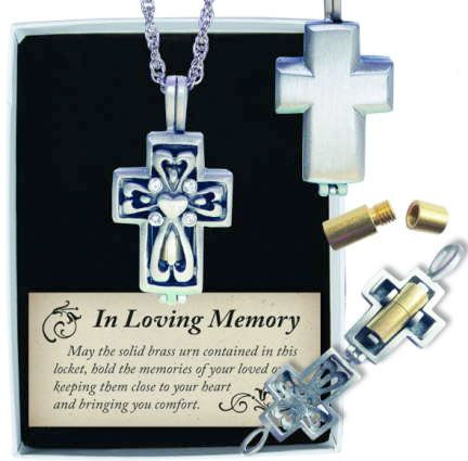 In Loving Memory Urn Cross Pendant Silver