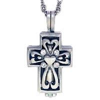 In Loving Memory Urn Cross Pendant Silver
