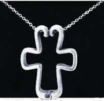 Cross Pendant Ring Holder Pewter