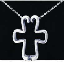 Cross Pendant Ring Holder Pewter