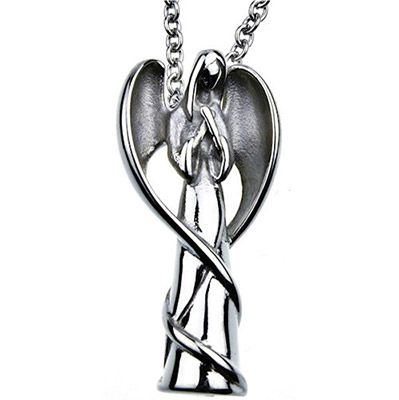 Angel Cremation Urn Necklace Stainless Steel