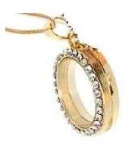 Floating Locket Gold Rhinestone Memories & Chain