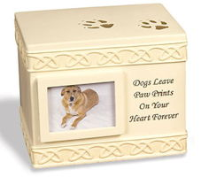 Dog Cremation Ashes Urn Square w Picture Frame