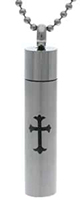 Large Memorial Ashes Vial, Cross Necklace