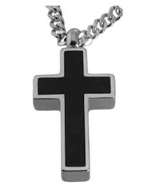 Black Cross Memorial Ash Urn Necklace Jewelry