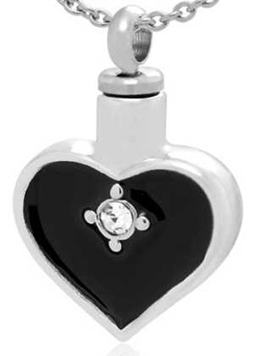 Silver Cremation Heart Urn Necklace