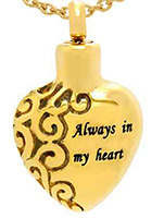Gold Always in My Heart Memorial Ash Necklace