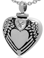 Heart Urn Necklace for Ashes with Angel Wings & Jewel