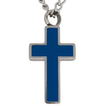 Dark Blue Cross Memorial Urn Necklace Jewelry
