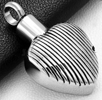 Grooved Heart Cremation Ash Urn Keepsake Memorial Pendant