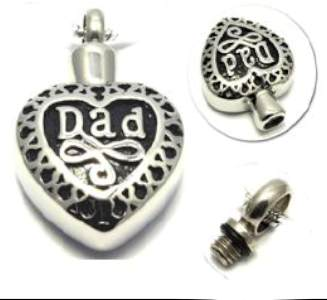 Dad Cremation Memorial Heart Urn Necklace