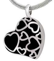 Hearts Memorial Urn Necklace Silver
