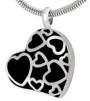 Hearts Memorial Urn Necklace Silver