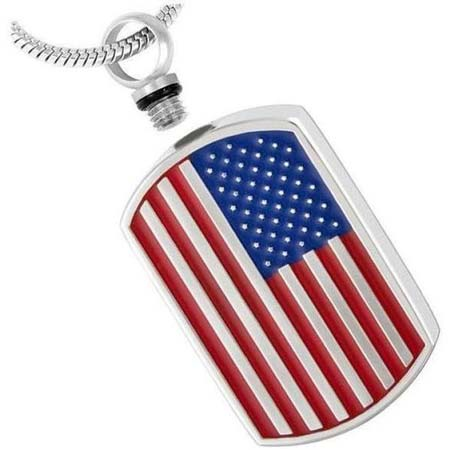 American Flag Dog Tag Urn Necklace