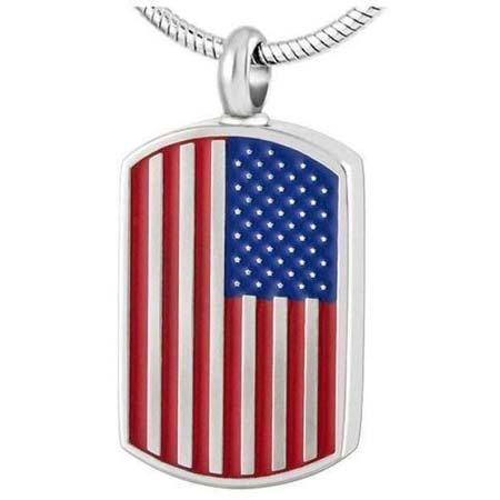 American Flag Ashes Necklace Dog Tag
