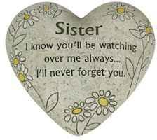 Sister Memorial Polystone Heart for Garden