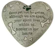 Dog Memorial Polystone Heart for Garden