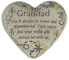 Grandad Memorial Polystone Heart for Garden