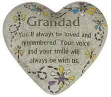 Grandad Memorial Polystone Heart for Garden