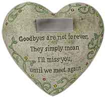 I'll Miss You Memorial Polystone Heart for Garden