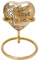 Heart Cremation Urn - Love You - on Brass Stand
