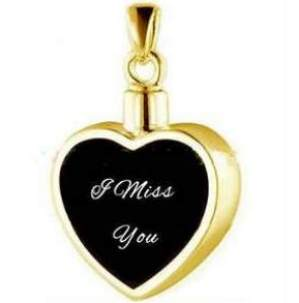 I Miss You Memorial Urn Necklace Gold