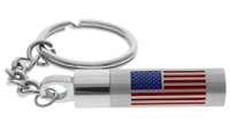 Flag Vial  Cremation Key Chain Stainless Steel
